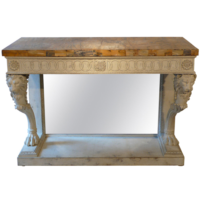 A Lacquered Console Table With Decoration Of Lionu0027s Heads And Paw Feet,  Sienna Marble Top