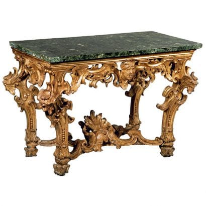 Guilded console table with verde antico marble. c.1730. Rome, Italy. 36.2 x 53.1 x 26.7 inches