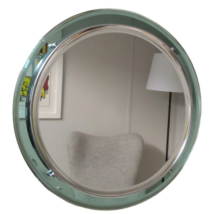 Round bevelled mirror with chrome and aqua coloured glass frame ...